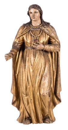 A statue of a Saint, polychrome painted wood, early 19thC, H 66 cm