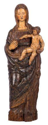 Our Lady and child, polychrome painted pine, probably Southern / (Eastern?) Europe, H 120 cm