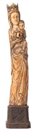 Our Lady and child and boat, patinated ivory on a wooden Gothic revival base, probably workshop Heckman Paris, early 20thC, H 74,5 (without base) - 90,5 cm (with base) - Total weight about 9600g