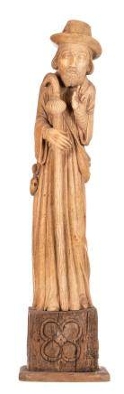 Saint Jacob, patinated ivory on a wooden Gothic revival base, probably workshop Heckman Paris, early 20thC, H 71 (without base) - 88 cm (with base) - Total weight about 13100g