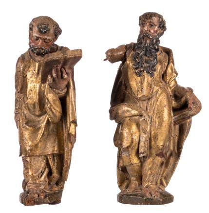 Two polychrome painted and gilt limewood sculptures, depicting Evangelists, probably German, 17thC, H 40 cm