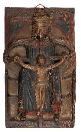God the Father and his crucified Son, oak sculpted and polychrome painted panel, probably Eastern Europe, 16thC, H 50 - W 31 cm, 30,5 x 50,5 cm