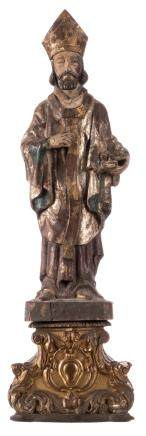 A polychrome painted wooden statue of a Saint, with an accompanying base, 18thC, H 59 (without base) - 78 cm (with base)