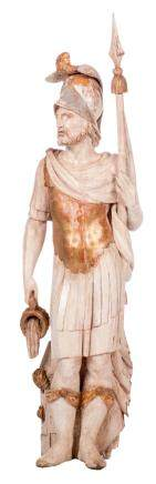 A statue of Saint Florian, polychrome painted wood, probably German, 17thC, H 144 cm