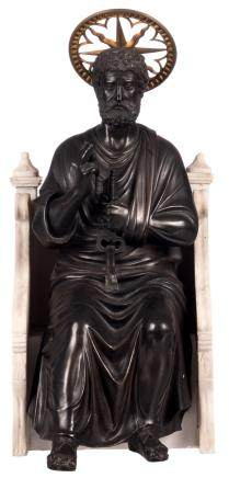 St. Peter, bronze, on a Carrara marble base, H 48 cm