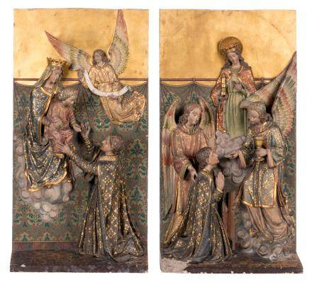 Two fragments of an altar in polychrome painted stoneware, presumably Belgian, last quarter 19thC, H 58 - B 30 cm (damage)