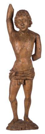 A limewood St. Sebastian, presumably Southern Netherlands, 16thC, H 72 cm
