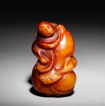 CHINESE JADE PENDANT CARVED BOY
