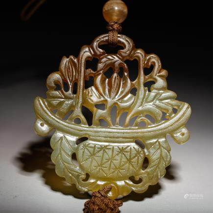 CHINESE JADE CARVED FLOWER BASKET PENDANT