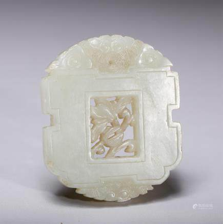 CHINESE QING DYNASTY WHITE JADE PLAQUE