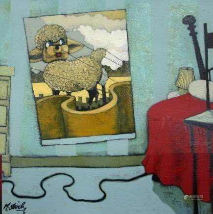 "MATT LIVELY, Title ""Lamb Ballon"" Artist signed, Oil"