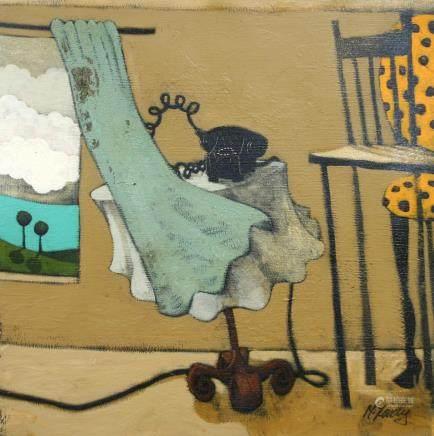 "MATT LIVELY, Title ""Curtain & Phone"" Artist signed, Oil"