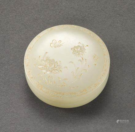 AN INCISED AND GILT-DECORATED PALE CELADON JADE BOX AND COVER QING DYNASTY, 18TH – 19TH CENTURY