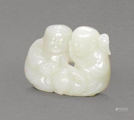 A WHITE JADE 'HEHE ERXIAN' GROUP QING DYNASTY, 18TH CENTURY