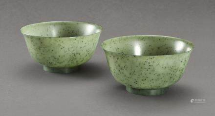 A PAIR OF SPINACH-GREEN JADE BOWLS QING DYNASTY, 18TH – 19TH CENTURY