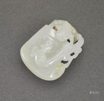 AN ARCHAISTIC WHITE JADE 'TWIN CHILONG AND AXE' PENDANT LATE QING DYNASTY