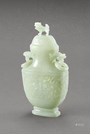 A CELADON JADE ARCHAISTIC VASE AND COVER LATE QING DYNASTY