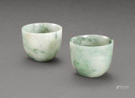 A PAIR OF INCISED JADEITE CUPS LATE QING DYNASTY – REPUBLICAN PERIOD