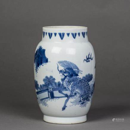 A BLUE AND WHITE QILIN PORCELAIN JAR, MING CHONGZHEN PERIOD