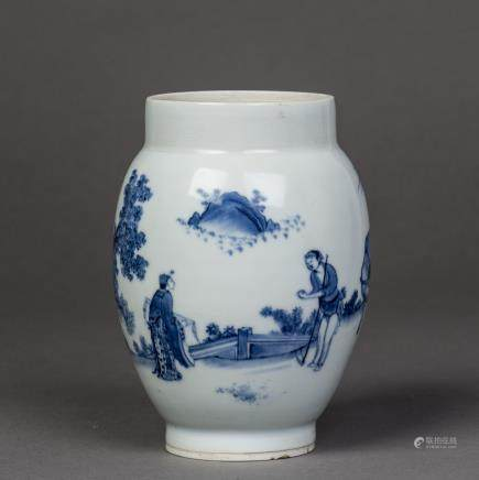 A BLUE AND WHITE PORCELAIN JAR, MING CHONGZHEN PERIOD