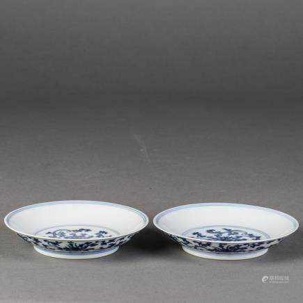 A PAIR OF BLUE AND WHITE PORCELAIN DISH, 18TH CENTRY