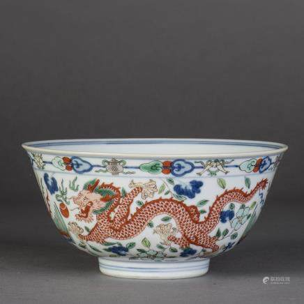 A BLUE AND WHITE  WUCAI DRAGON AND PHOENIX PORCELAIN BOWL, QING DAOGUANG PERIOD