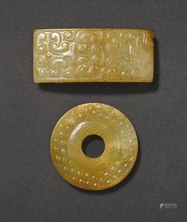 A BROWN JADE SWORD POMMEL AND A RUSSET JADE SCABBARD SLIDE, WEI WESTERN HAN DYNASTY AND WARRING STATES PERIOD