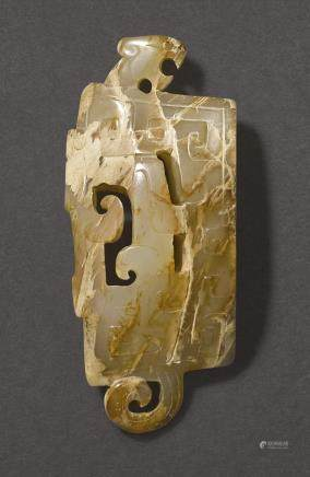 A LIGHT BROWN JADE SCABBARD CHAPE WARRING STATES – WESTERN HAN DYNASTY