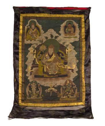 SAKYA PANDITA LAMA THANGKA, SINO-TIBET, 19TH CENTURY