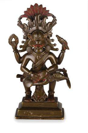 A BRONZE FIGURE OF A DEITY, INDIA, 19TH CENTURY