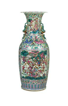 A RARE AND VERY LARGE PAIR OF CANTON 'FAMILLE ROSE' PORCELAIN BALUSTER VASES, CHINA, QING DYNASTY, 19TH CENTURY