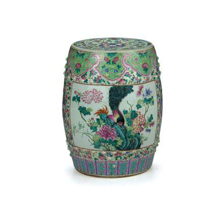 A CANTON 'FAMILLE ROSE' PORCELAIN GARDEN STOOL, CHINA, LATE 19TH CENTURY