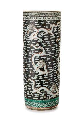 A NINE DRAGONS CYLINDRICAL BLACK GROUND PORCELAIN VASE, CHINA, LATE QING DYNASTY