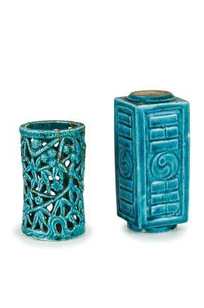 TWO SMALL TURQUOISE GLAZED VASES, CHINA, 18TH-19TH CENTURY (2)