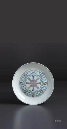 A RARE AND FINE PAIR OF 'DOUCAI' SAUCER-DISHES, CHINA, QING DYNASTY, SEAL MARK AND PERIOD OF QIANLONG (1736-1795) (2)