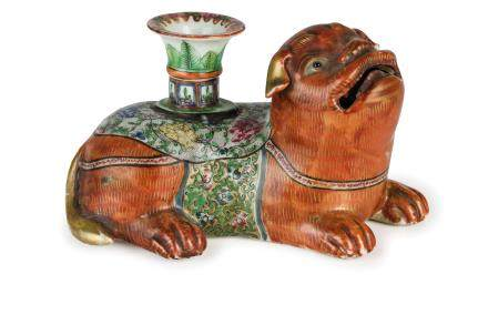 A FINE PAIR OF FIGURES OF CANDLE-HOLDERS SHAPED AS DOGS, CHINA, QING DYNASTY, JAJING PERIOD (1796-1820) (2)