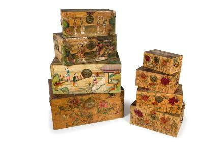 AN UNUSUAL SET OF EIGHT PAINTED PAPER TRAVEL BOXES, CHINA, LATE 18TH - 19TH CENTURY (8)