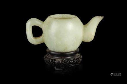 A SMALL WHITE JADE TEAPOT, CHINA, 19TH CENTURY