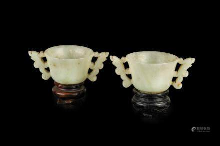 A WHITE JADE PAIR OF SMALL CUPS, CHINA, LATE MING DYNASTY 16TH - 17TH CENTURY OR LATER (2)