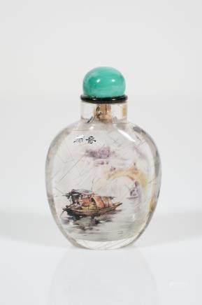 chinese interior painted crystal snuff bottle