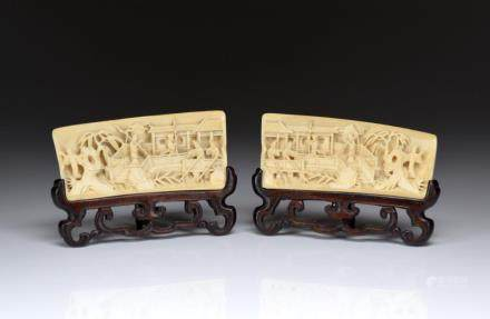 PAIR OF CHINESE IVORY CARVED WRIST RESTS
