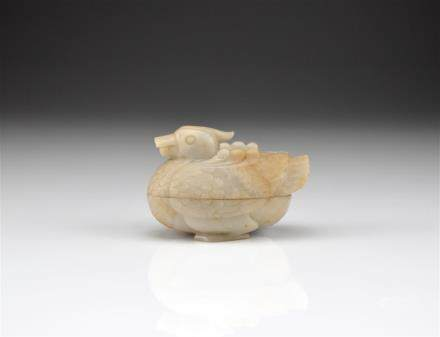 CHINESE GREY JADE DUCK FORM COVERED PASTE BOX