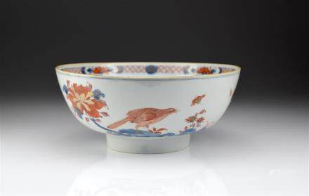 CHINESE IMARI PATTERN EXPORT PORCELAIN PUNCH BOWL