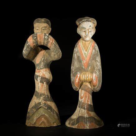 Pair Han Antique Pottery Ladies