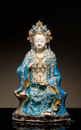 18th Antique Large Shiwan Sancai Figure: Guanyin