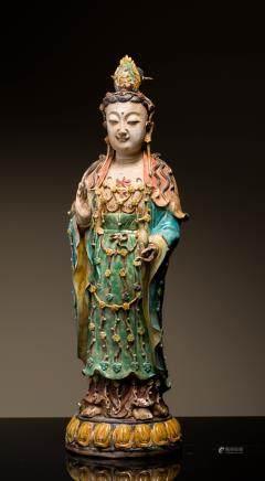 18th Antique Large Shiwan Sancai Figure: Guanyin