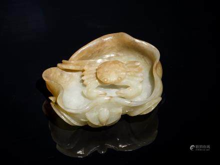 Late 19th Antique White Jade Russet Washer