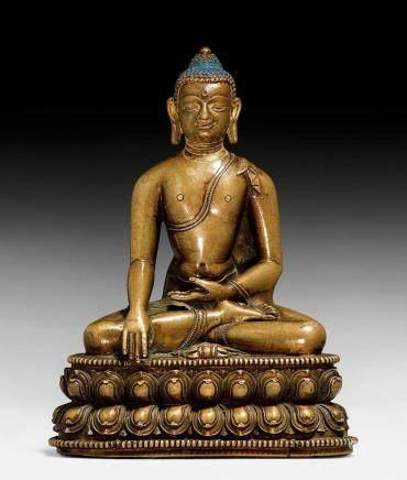 精美的鑄銅金剛座釋迦摩尼佛像。