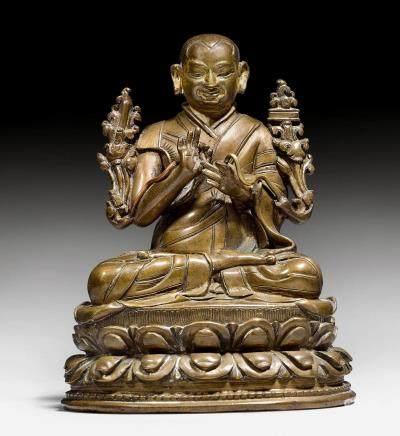鑄銅喇嘛尊者像,可能為宗喀巴。