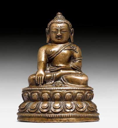 小型鑄銅合金釋迦摩尼佛像。
